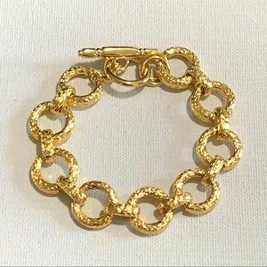 Kenneth Lane Hammered Gold Plated Bracelet Toggle